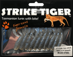 Strike Tiger 3 inch curl tail grub BLUE STEEL