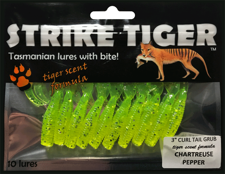 Strike Tiger 3 inch curl tail grub CHARTREUSE PEPPER