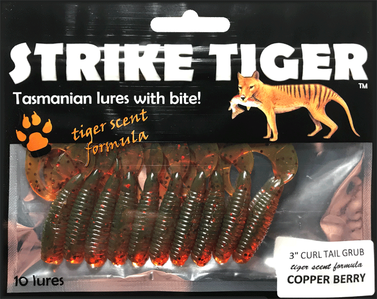 Strike Tiger 3 inch curl tail grubCOPPER BERRY