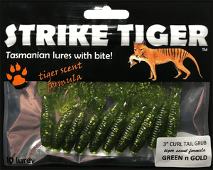 Strike Tiger 3 inch curl tail grub GREEN N GOLD