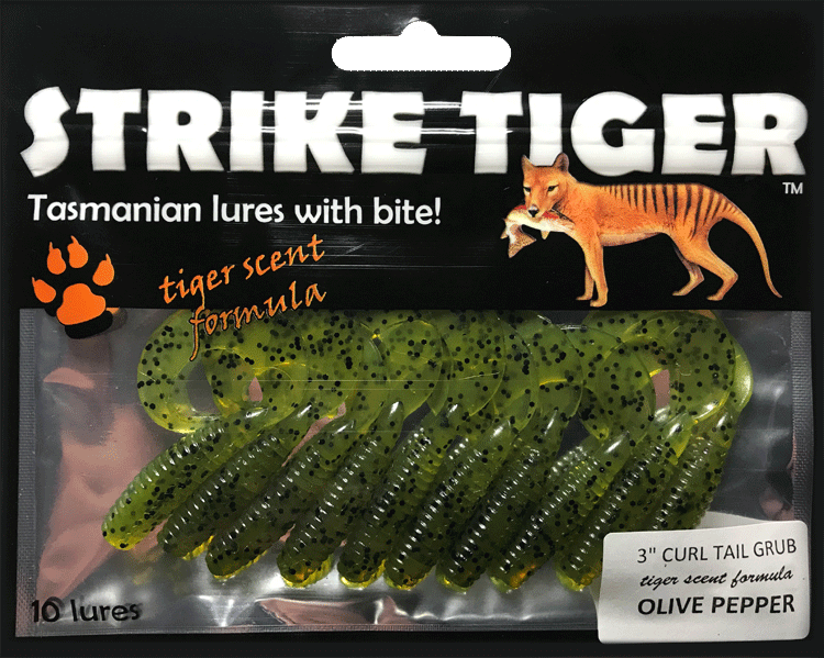 Strike Tiger 3 inch curl tail grub OLIVE PEPPER