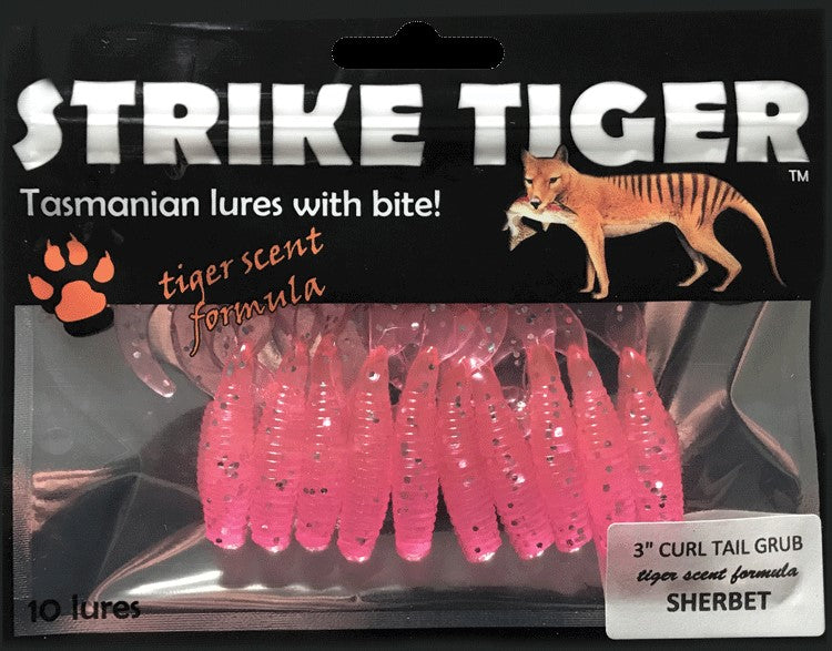 Strike Tiger 3 inch curl tail grub SHERBET