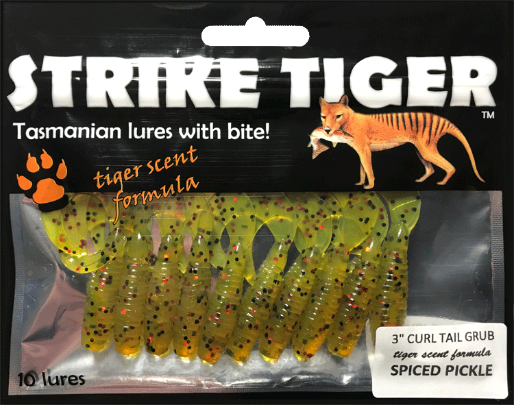 Strike Tiger 3 inch curl tail grub SPICED PICKLE