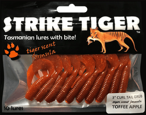 Strike Tiger 3 inch curl tail grub TOFFEE APPLE