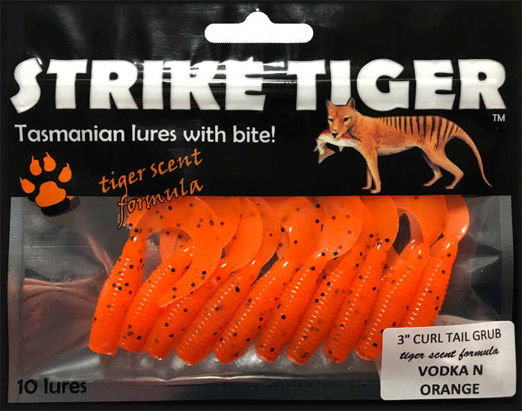Strike Tiger 3 inch curl tail grub VODKA N ORANGE