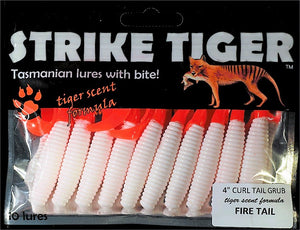 Strike Tiger 4 inch curl tail grub FIRE TAIL