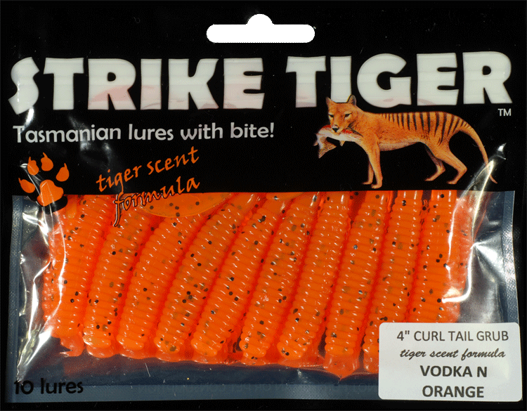 Strike Tiger 4 inch curl tail grub VODKA N ORANGE