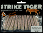 Strike Tiger 4 inch curl tail grub WHITEBAIT PEARL