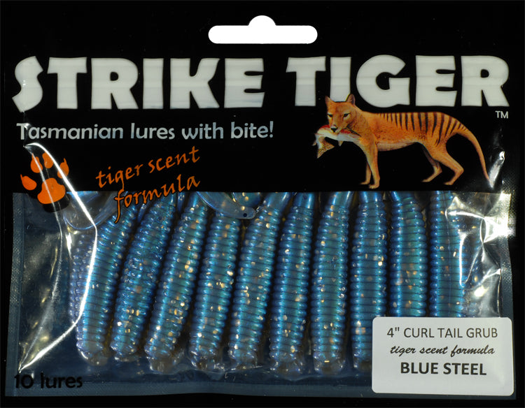 Strike Tiger 4 inch curl tail grub BLUE STEEL