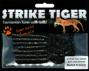 Strike Tiger 4 inch curl tail worm BLACK N GOLD