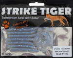 Strike Tiger 4 inch curl tail worm BLUE STEEL