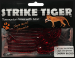 Strike Tiger 4 inch curl tail worm CHERRY BLOOD