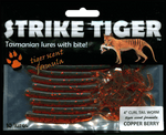Strike Tiger 4 inch curl tail worm COPPER BERRY