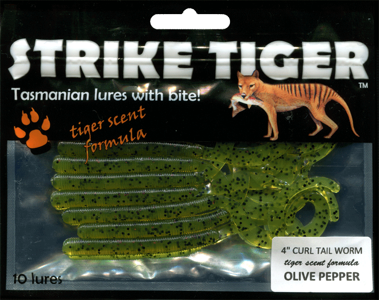 Strike Tiger 4 inch curl tail worm OLIVE PEPPER