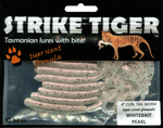 Strike Tiger 4 inch curl tail worm WHITEBAIT PEARL