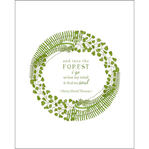 8x10-inch Forest Art Print, Mind and Soul Quote