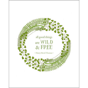 8x10-inch Forest Art Print, Wild and Free Quote