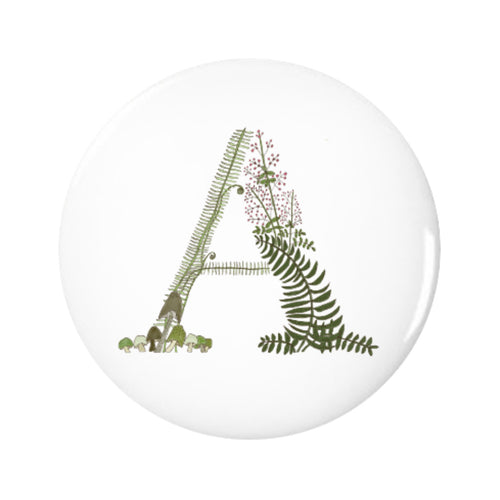 Letter A Forest Art Pin-back Button, 1.25-inch