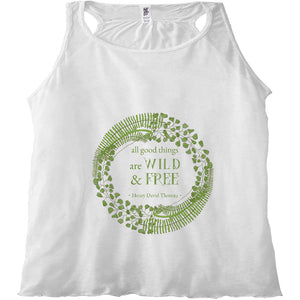 Forest Art Wild and Free Quote Racerback Tank Top