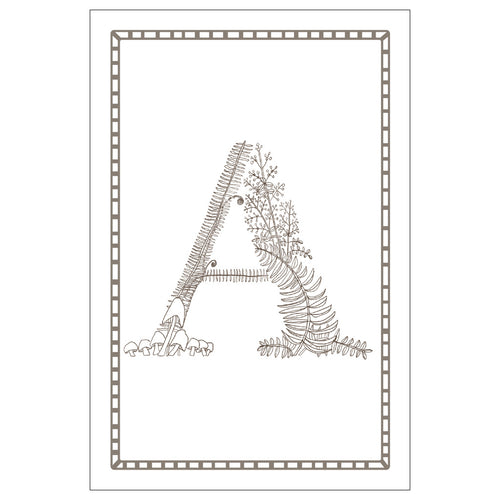 Forest Art Letter A Coloring Postcard