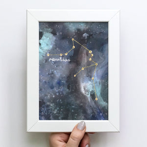 "5x7"" Stitched & Foiled Zodiac Constellation Art Print"
