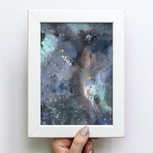 A perfect multi-media art piece for the Astrological enthusiast in your life. Constellation is hand-stitched & gold foiled.