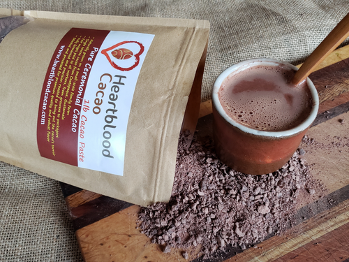 HeartBlood Cacao Ceremonial Cacao Powder isn't your store-bought cocoa powder that has been over-processed and had the cacao butter removed. This is pure ceremonial-grade cacao. Nothing added and nothing removed. Experience the heart-opening, energizing effects for yourself. Ideal for making your morning energizer drink, a full ceremonial cacao brew or adding to smoothies and other delicious treats.