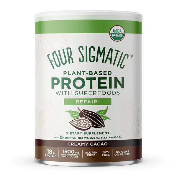 Creamy, cacao and not too sweet. Four Sigmatic Plant-Based Creamy Cacao Protein in is great in coffee or banana smoothies, or shake it in a shaker. No grains, no gums, no fillers, no stevia. Only Mother Nature's secret stash of superfoods. Packing 18 g of organic vegan protein, 1000 mg of 5 functional mushrooms, and 500 mg of 2 adaptogens. We're not even sure how we fit it all in there (maybe because we skipped all the fillers). Everything your body needs to replenish and nothing it doesn't.