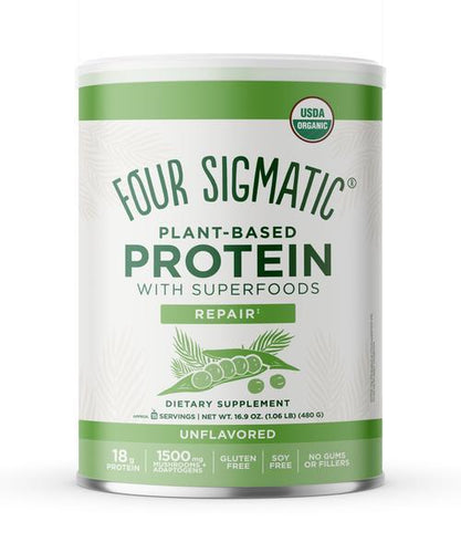 "Instead of gums and fillers, Four Sigmatic Plant-Based Protein with Superfoods delivers a full 18g of unflavored plant-based organic protein powder with effective doses of functional mushrooms and adaptogens. There's organic Reishi, Lion's Mane, Chaga, Turkey Tail, and Cordyceps, plus adaptogens Ashwagandha and Eleuthero. Rather than add sketchy ""Natural Flavors,"" it's unflavored. It's a blank slate so you can shake and sip, or blend into your favorite smoothie recipe."