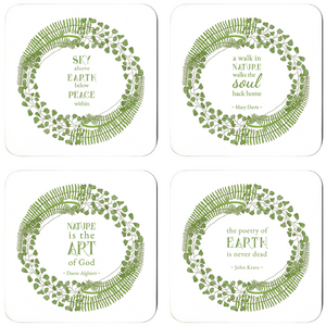 Forest Art Assorted Quote Coaster Set