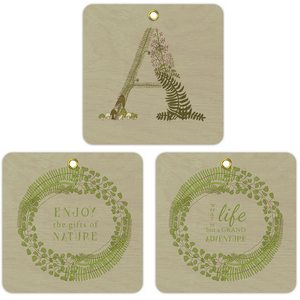 Forest Art Wooden Ornament Set, Letter A