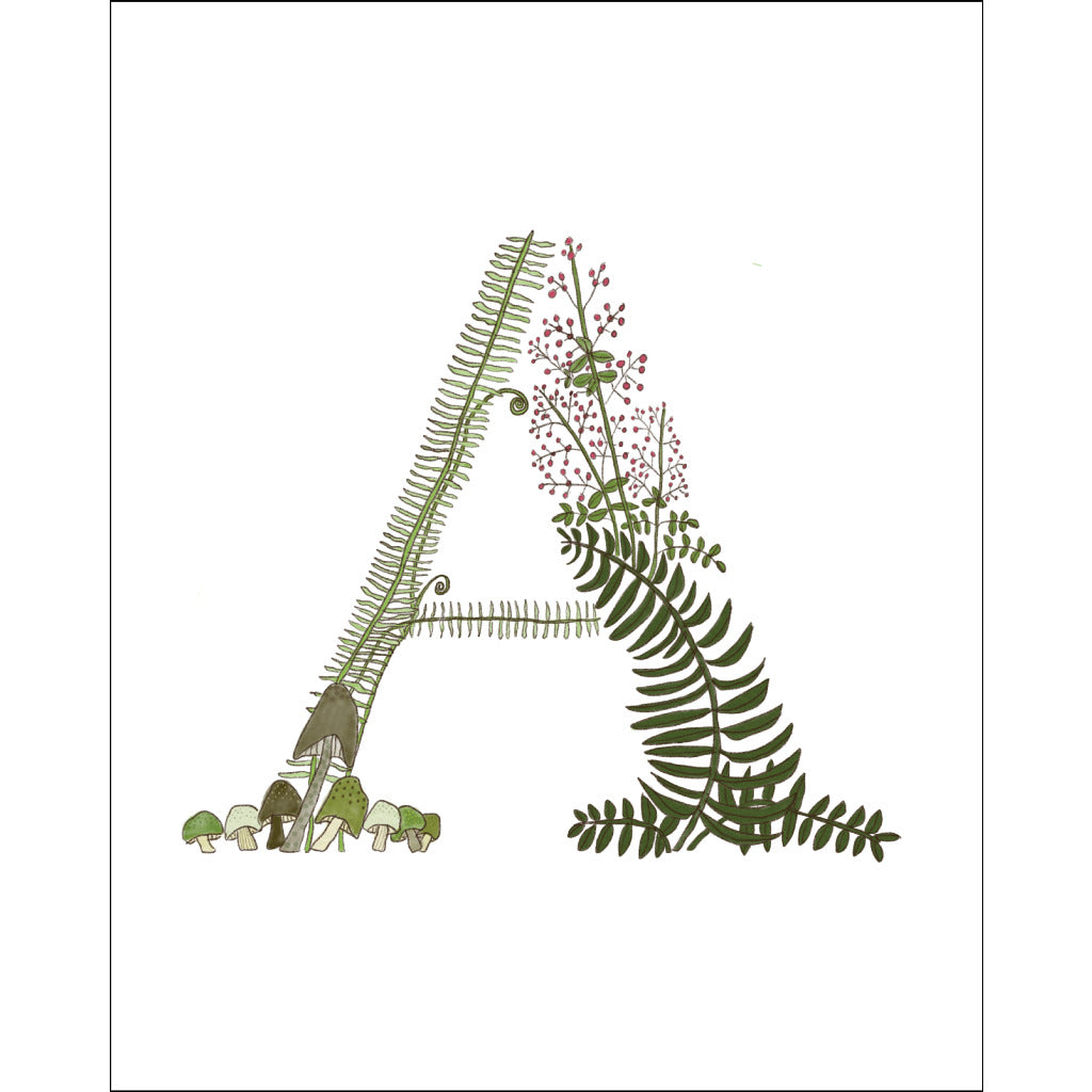 8x10-inch Forest Letter A Art Print