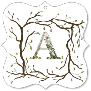 Forest Art Letter A Canvas Ornament