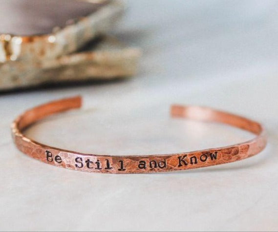 Be Still and Know Copper Cuff Bracelet