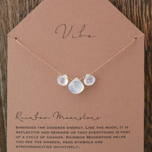 3 Stone Necklace | Rainbow Moonstone