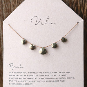 5 Stone Necklace | Pyrite