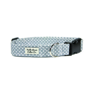 GREY POLKA DOT DOG COLLAR