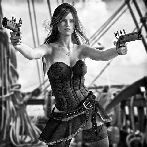 Fantasy Pirate female drawing two pistols to defend her ship - Airbrush Stencil