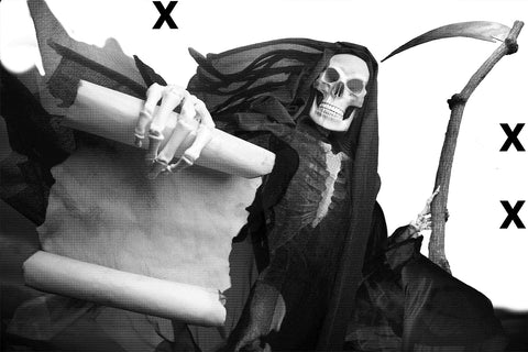 Grim reaper holdiing the scroll of death - Airbrush stencil