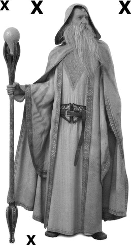 Legendary white wizard with staff and cloak - Airbrush Stencil