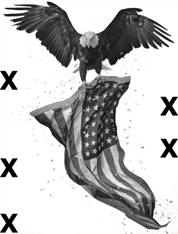 North American Bald Eagle flying with American flag - Patriotic concept - Airbrush stencil