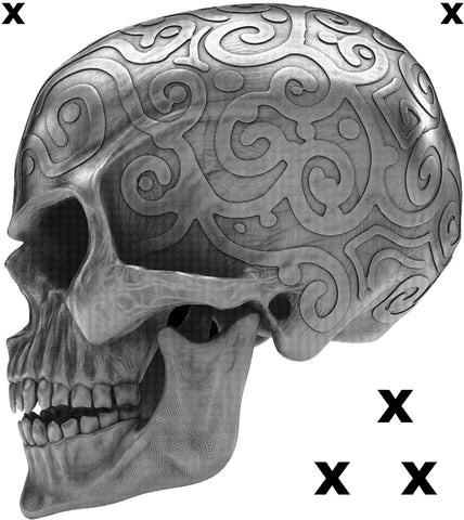 Ornamental dirty silver - angry skull side view - Airbrush Stencil
