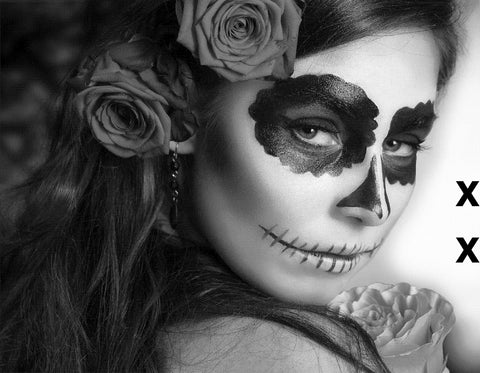 Day of The Dead Woman with Sugar Skull Face Paint - High Detail Airbrush stencil HD stencils