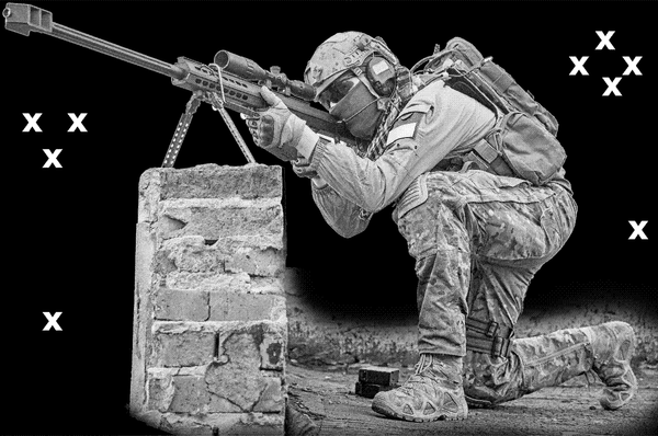 Sniper with .50 cal -Airbrush Stencil