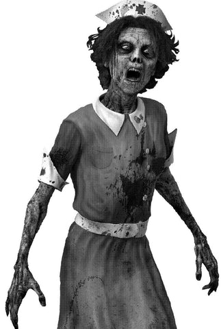 airbrush stencil for beginners of a horrible nurse zombie dripping blood
