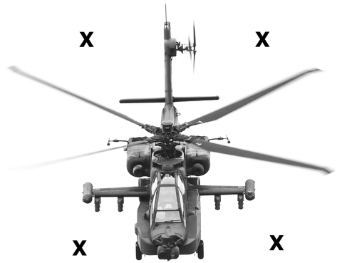 HD Airbrush Stencil High Detail Airbrush stencils AH-64 Apache helicopter front view