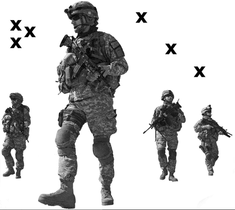 4 Soldiers walking foward - High Detail Airbrush stencil HD stencils
