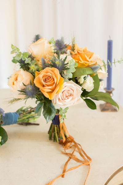 Yellow And Blue Bridal Bouquets