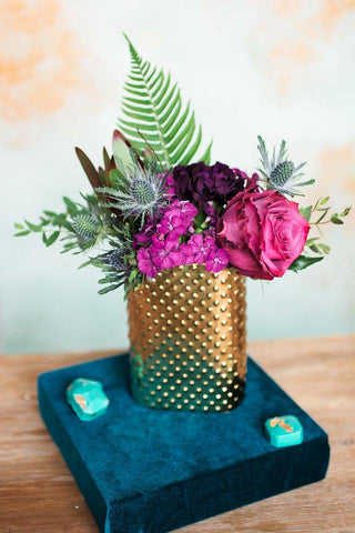 Accent Centerpiece - Gold Hobnail Vase