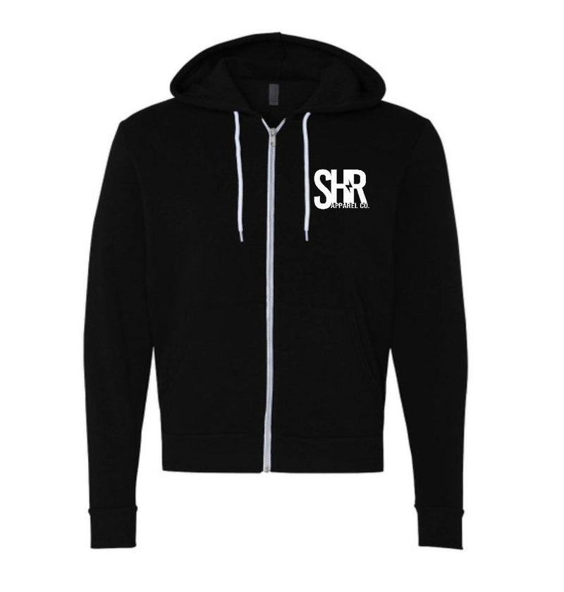 SHR Pocket Logo Zip-up Hoodie - Black